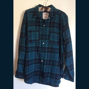 Mossimo Blue Green Plaid Long Sleeve Flannel Shirt